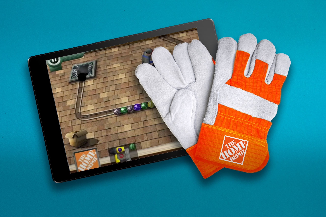 Image of Home Depot Gloves lying on an iPad displaying a marketing game