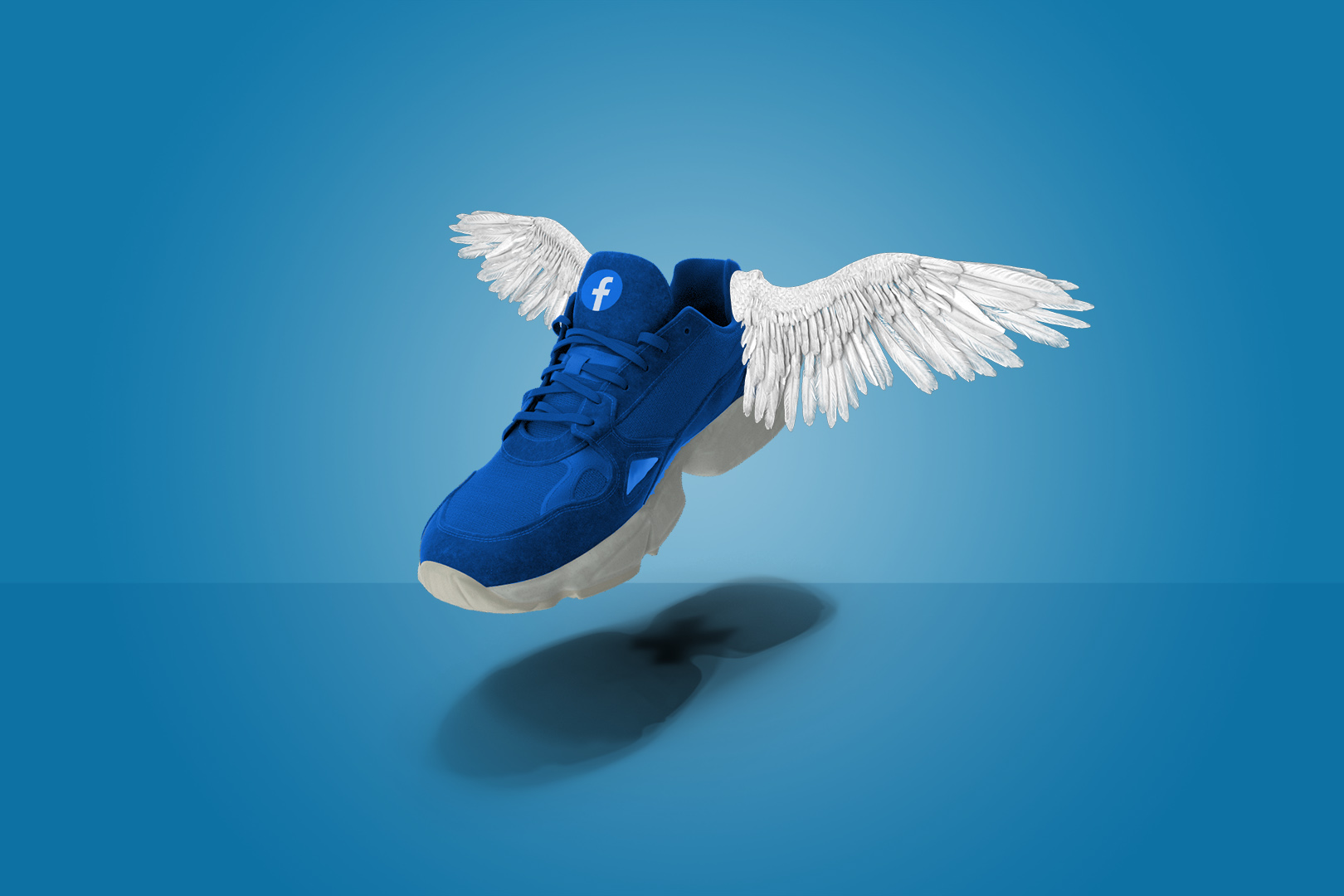 A sneaker flying with wings