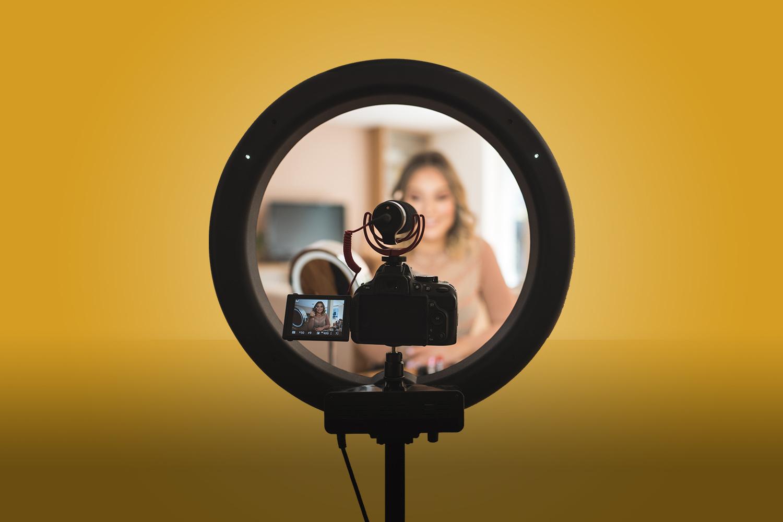 Influencer with their web camera set up.